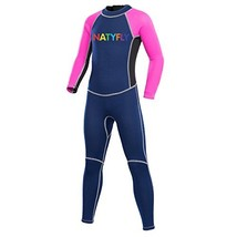 NATYFLY Neoprene Wetsuits for Kids Boys Girls Back Zipper One Piece Swimsuit UV
