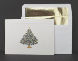 Christmas holiday season greeting card embossed tree border gold accents - $9.34