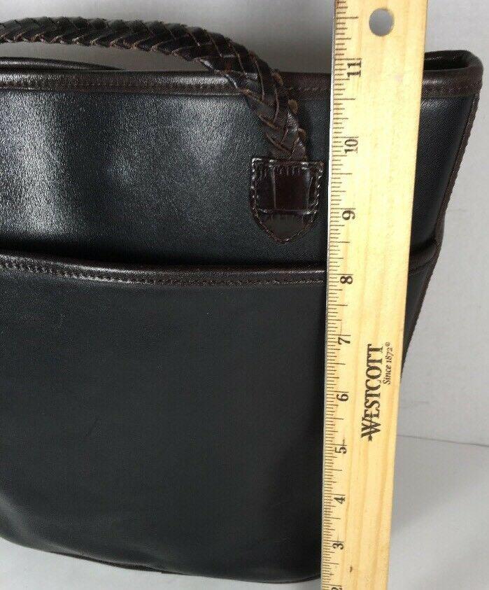 Brighton Vintage Black with Brown Reptile Print Trim Bucket Bag