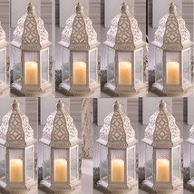 "Lot 15 Sublime 12"" White Distressed Lantern Candle Holder Wedding Centerpieces - $186.12"