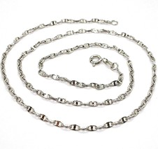 18K WHITE GOLD CHAIN FLAT NAVY MARINER OVAL BRIGHT LINK 2.5 MM, 20 INCHES  - $439.00
