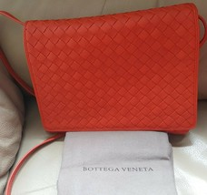 NWT Bottega Veneta orange intrecciato leather small crossbody bag; Rtl $... - $799.99