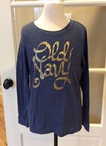 Old Navy Top Long Sleeve Lightweight Gray Graphic Tee Shirt Girls 10 12 ... - $7.99