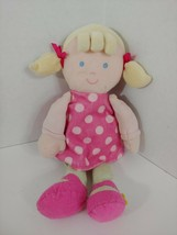 Carters USED Baby Doll Plush Pink Dress polka dots shoes green stripes b... - $9.89