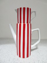 Stacking Porcelain Red White Candy Cane Striped Coffee/Tea Pitcher Cream... - $26.61
