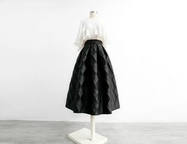 Lady Yellow Midi Party Skirt Spring Plus Size Full Pleated Skirt w. Wing Pattern image 12