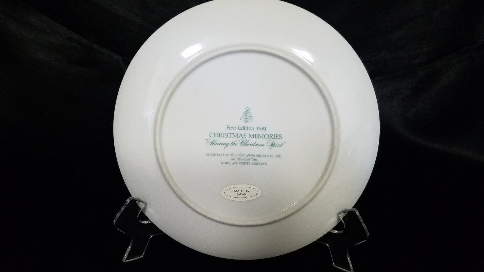 AVON CHRISTMAS PLATE 1981 1ST EDITION