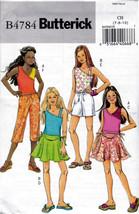 Butterick B4784 Girls Tops Skirts Shorts Pants Sewing Pattern Kids Sizes... - $6.95