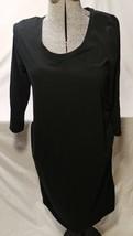 Liz Lange Maternity black dress calf length XL extra large gathered long... - $19.34
