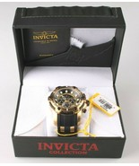 Invicta Men's Bolt Chronograph Black Dial 51mm 18K Gold Plated SS PU 100... - $129.95