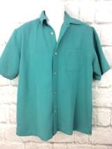 JOE Joseph Abboud Men's Button Up Short Sleeve Shirt Size Large Teal Blue - $38.27 CAD