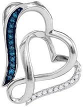 Sterling Silver Round Blue Color Enhanced Diamond Heart Love Pendant 1/20 - $35.00
