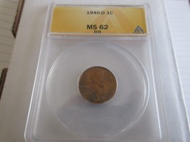 1940-D  , Lincoln Penny , MS 62 , RB , Anacs - $40.00