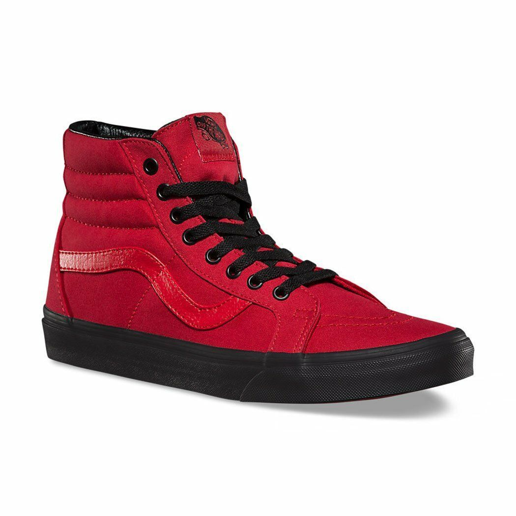 VANS Sk8 Hi (Black Outsole) Racing Red/Black WOMEN'S Skate Shoes 7