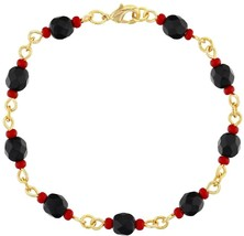 18k Gold Plated Simulated Azabache Womens Bracelet Mal De Ojo Protection 7' - $43.43
