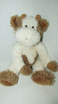 Plush Russ Tuscany plush brown cream cow bull furry beanbag seated - $19.79