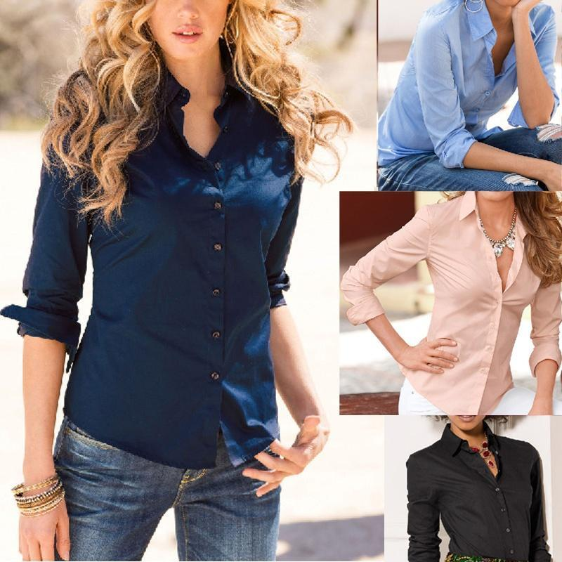 New Fashion Women Blouse Long Sleeve Office Shirt Casual Tops