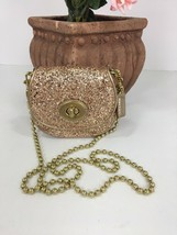 Coach Bag Evening Poppy Gold Sequin Crossbody Leather Chain 43292 Gold B2E - $89.09