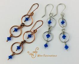 Handmade Copper or Stainless Steel Earrings Circle Framed Dangle Chain - $25.00
