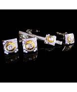 STUNNING Wedding Tuxedo cufflinks - silver gold rhinestone tie clip - br... - $165.00