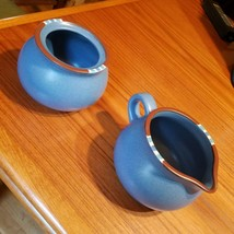 Dansk Mesa Sky Blue Creamer and Sugar Bowl No Lid Made in Japan Retired 2004 - $15.47