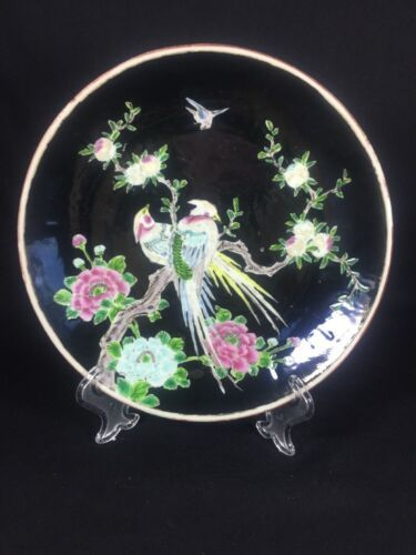 Primary image for Antique Decorative Plate Japanese Pheasant Bird Pair Noir Glazed  9""