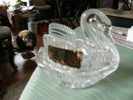 17#   Crystal Swan Trinket Jewelry Dish 24 Pbo Lead Crystal 2 Piece West... - $18.80