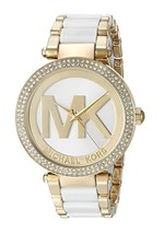 New Michael Kors Parker MK6313 Gold / White Logo Dial Wrist Crystal Wome... - $108.85