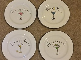 Martini Cocktail Plates Set of 4 Pottery Barn - $42.56
