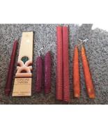 "Beeswax Taper Candles Pair Light Red 12"" Textured Handmade Handmade Bonu... - $6.92"