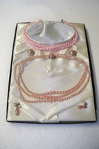 Vintage pink costume jewelry box set Japan 2 necklaces 2 pair earrings - $19.34