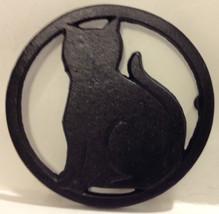 CUTE CAST IRON BLACK CAT TRIVET - CHINA  - $9.89