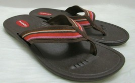 Okabashi Every Day Thong Flip Flops Stripe Brown Womens M 7 8 Comfort Sa... - $29.47