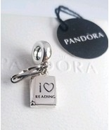 NEW/TAGS  AUTHENTIC PANDORA SILVER CHARM I LOVE READING DANGLE #791984 - $25.24