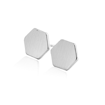 5 pairs of  Hexagon Silver Plated Stud Earring Stud (NED144C) - $12.50
