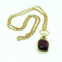 "JOAN RIVERS Faux Ruby Gold Tone Rolo 32"" Chain Pendant Necklace EUC - $21.33"