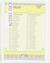 1989 Fleer #659 Checklist #491-584 CL 192278 - $1.86
