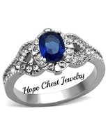 WOMEN'S STAINLESS STEEL 1 CT BLUE OVAL CUT BRIDAL CZ ENGAGEMENT RING SIZ... - $12.59