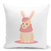 Throw Pillow Cozy Winter Rabbit Cartoon White Home Decor Pillow 16x16 - $28.49