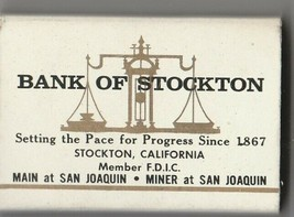 Vtg Strike on Match Box with local ad & sticks ~ Bank of Stockton ~ (wh) - $9.89
