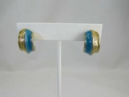 Vintage Goldtone Blue Enamel Huggie Pierced Hoop Earrings Gold Tone 50072 - $11.87