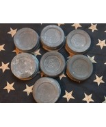 7 Vintage Zinc Lids Caps Canning Ball Mason Jar White Porcelain Lined In... - $15.83