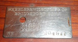 Wheeler & Wilson Model 9 Back Bed Plate w/Seria... - $20.00