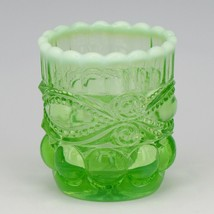 Vintage Glass Toothpick Moser USA Green Opalescent with Logo