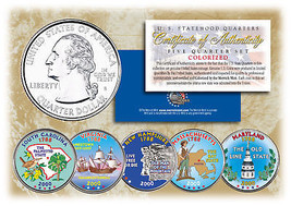 2000 US Statehood Quarters COLORIZED Legal Tender 5-Coin Complete Set w/... - $12.82