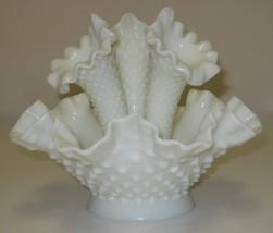 Fenton Epergne 4pc White Milk Glass Hobnail Cen... - $39.00