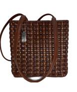 Vintage Nine West Brown Basket Weave Woven Faux Leather Shoulder Bag  - $24.99
