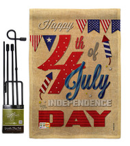 Happy 4th Burlap - Impressions Decorative Metal Garden Pole Flag Set GS1... - $33.97