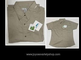 Women's Khaki Beige Button Up Shirt Short Sleeve Size L Teflon Fabric Pr... - $8.99