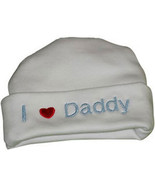 """Preemie & Newborn  """"I love Daddy"""" White Hat with Blue Embroidery - $10.00"""